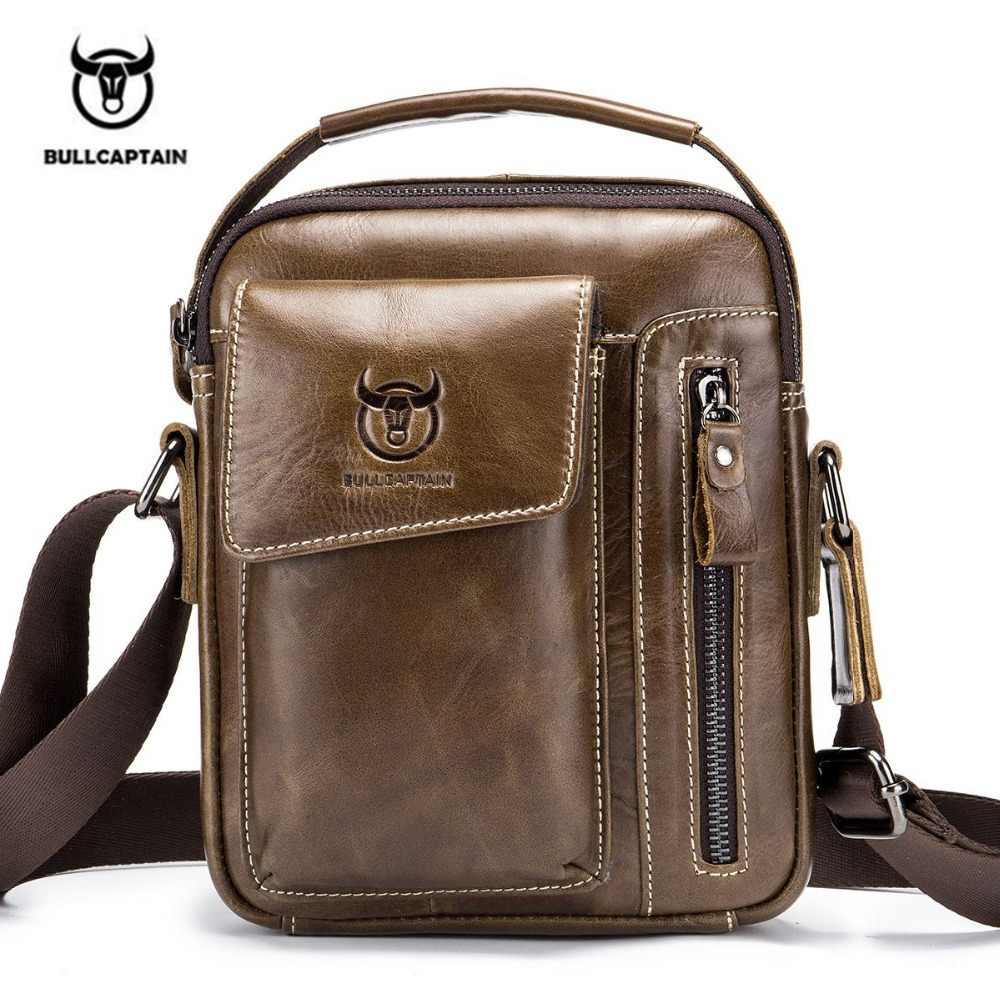 7bc779e291fa 2 Цвет Bullcaptain Классический бренд из натуральной кожи Бизнес сумка  Винтаж Crossbody сумка для Для мужчин