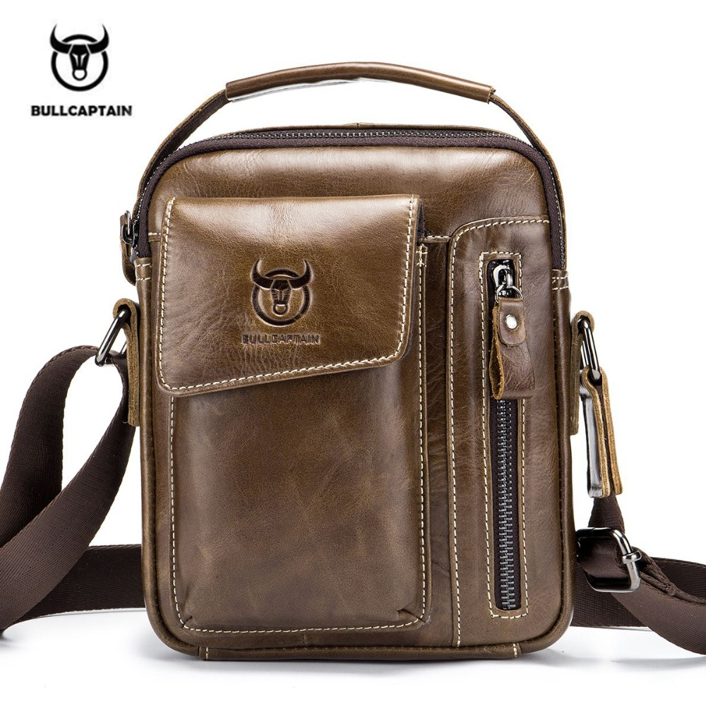 2 Color Bullcaptain Classic Brand Genuine Leather Business Messenger Bag Vintage Crossbody Bag For Men Casual Shoulder Bag