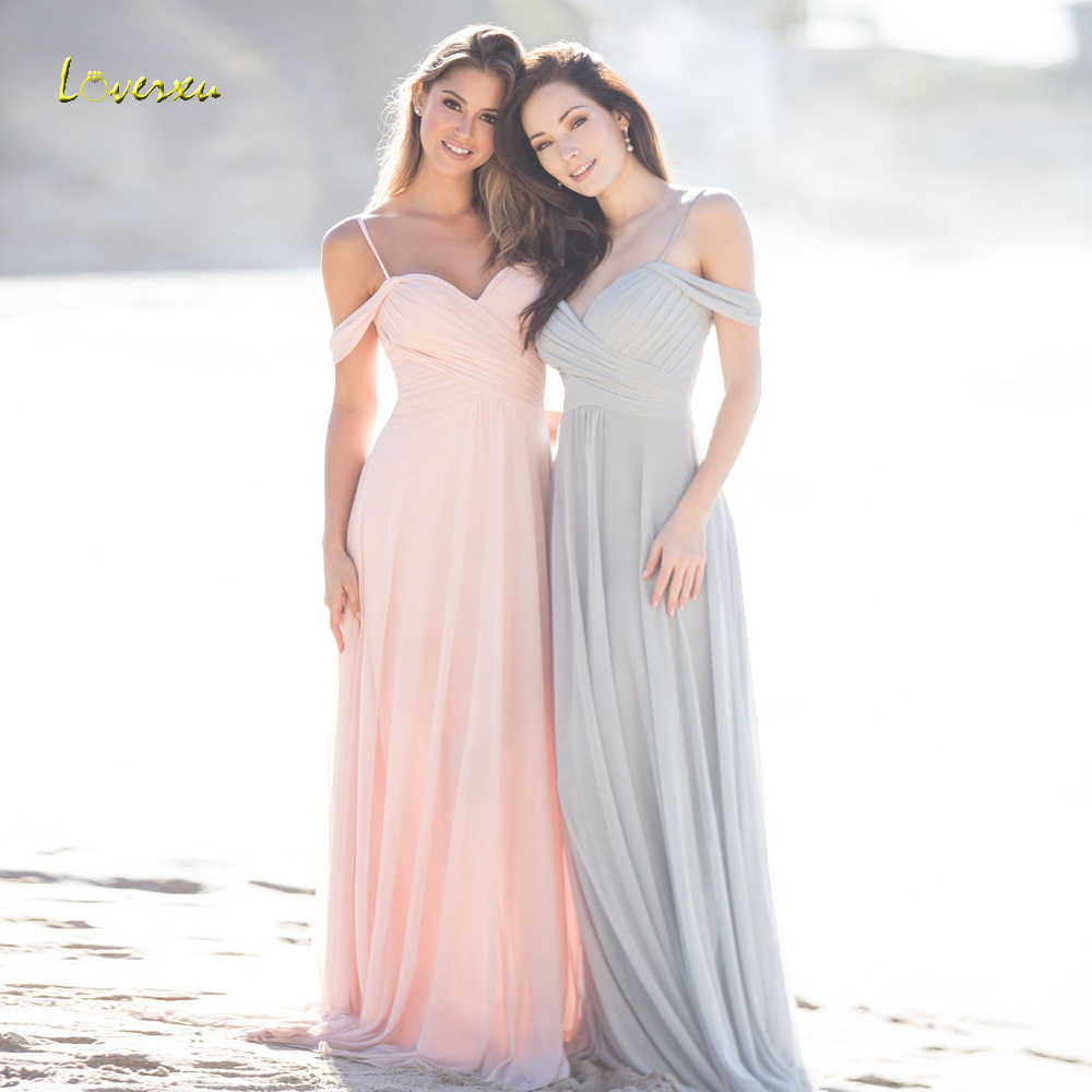 Loverxu Vestido De Festa Longo Sweetheart Beach Bridesmaid Dresses