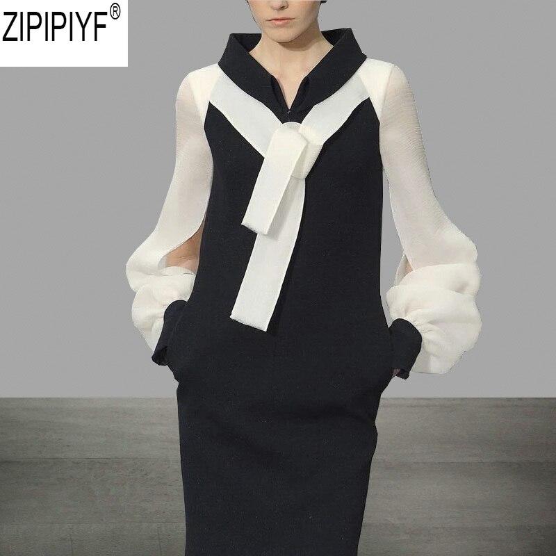 Kadın Giyim'ten Elbiseler'de 2018 High End Caltwalk Moda Kadınlar Standı Yaka Uzun Kollu Kalem Bodycon Kısa Elbise Sonbahar Patchwork Kısa Vestidos C2490'da  Grup 1