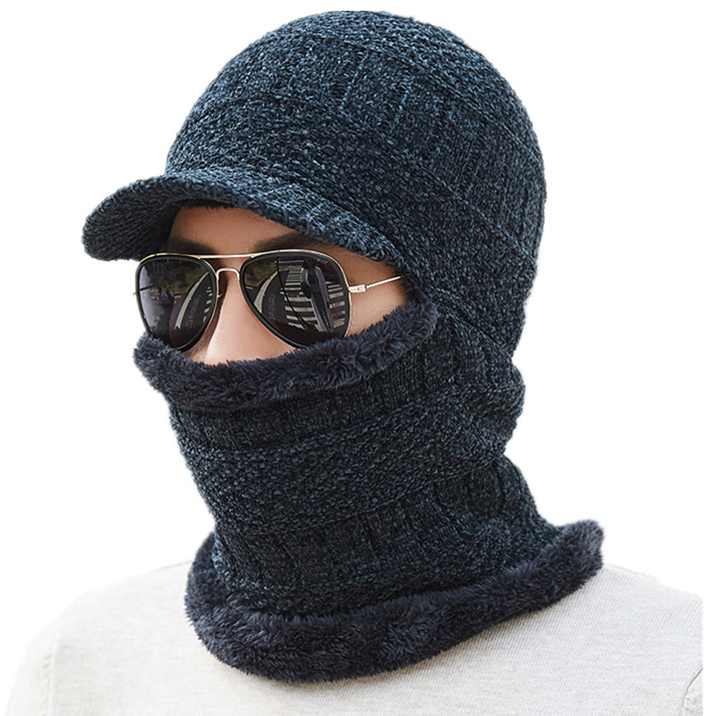Knitted Hat Scarf Winter Skullies Beanies Female Winter Hats For Women Men Baggy Ring Warm Thicken Fashion Cap Hats 2018