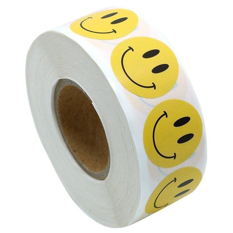 """1000 шт круглые желтые смайлики счастливые наклейки s """" кружочки для учителя дневник стикер для канцелярских товаров Скрапбукинг милые наклейки s"""