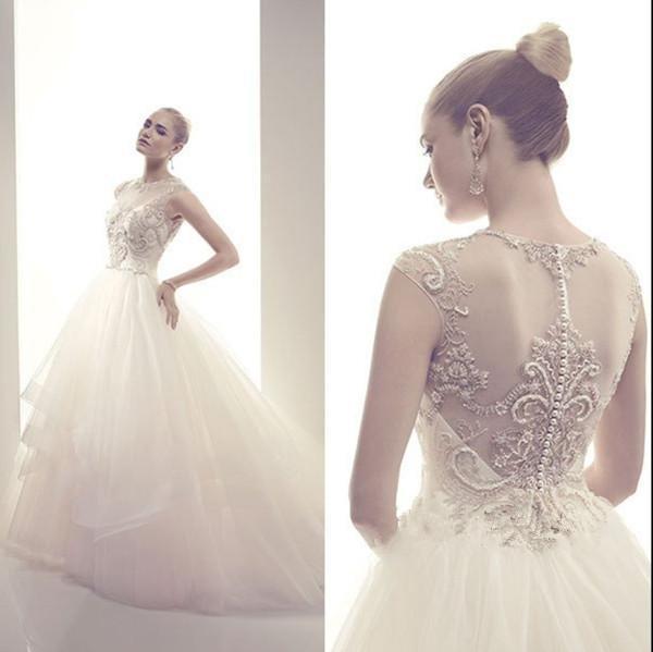 free shipping 2014 new fashion vestidos de noiva long casamento luxury crystal beaded tulle elegant ball gown wedding Dresses