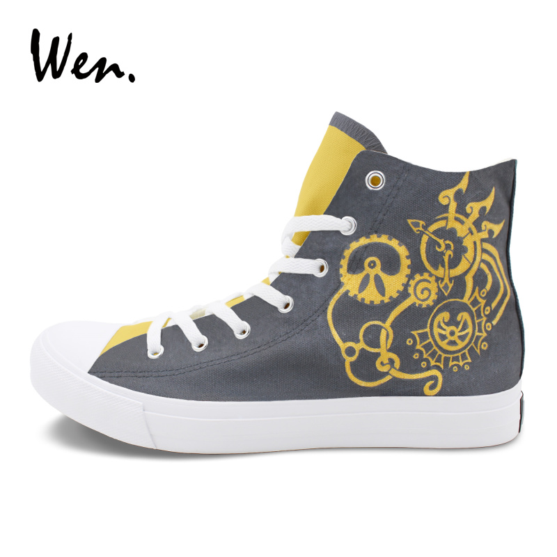 Wen High Top Skateboarding Shoes Men Women Sneakers Design Steam Punk Hand Painted Canvas Shoes Lace-up Athletic Plimsolls wen original high top sneakers steam punk hand painted unisex canvas shoes design custom boys girls athletic shoes gifts