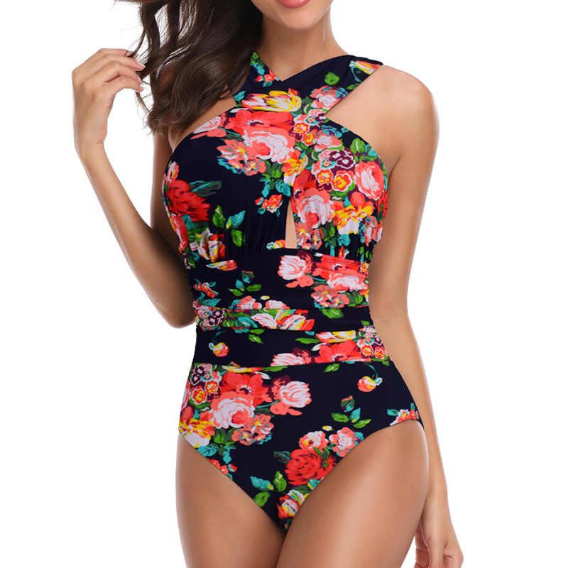 Один предмет женский купальник с цветочным принтом купальник женский Ретро винтажный плюс размер купальные костюмы Пляжная одежда Монокини большой 4XL