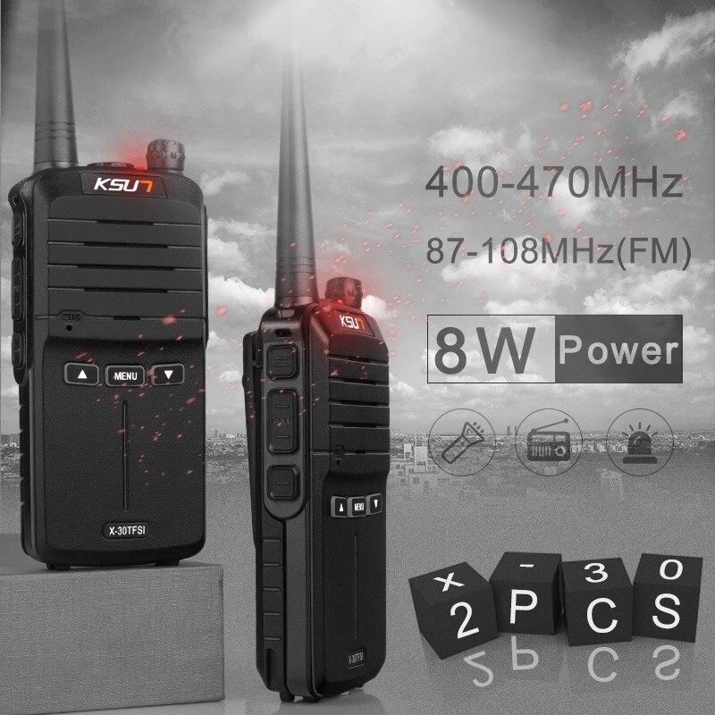 (2 unids) KSUN X-30 walkie talkie radio portátil 8 W de alta potencia UHF de mano dos vías Ham Radio comunicador HF transceptor