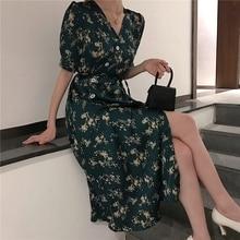 Women New 2019 Summer Vintage Print Dress Female Short Sleeve Lace up