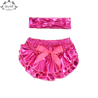Metallic Pink Ruffle Baby Bloomer Set Shinny Top Knot Headband Girls Bloomer Set Birthday Newborn Photo Prop Ruffle Newborn Set