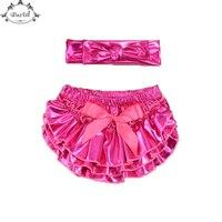 Metallic Roze Ruche Baby Bloeier Set Glanzend Top Knoop Hoofdband Meisjes Bloeier Set Verjaardag Pasgeboren Foto Prop Ruche Pasgeboren Set