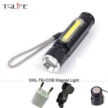 USB CREE XML T6 COB Mini Zoom LED Flashlight Work Light Waterproof Lamp Linterna Inside Battery Lanterna with Magnet