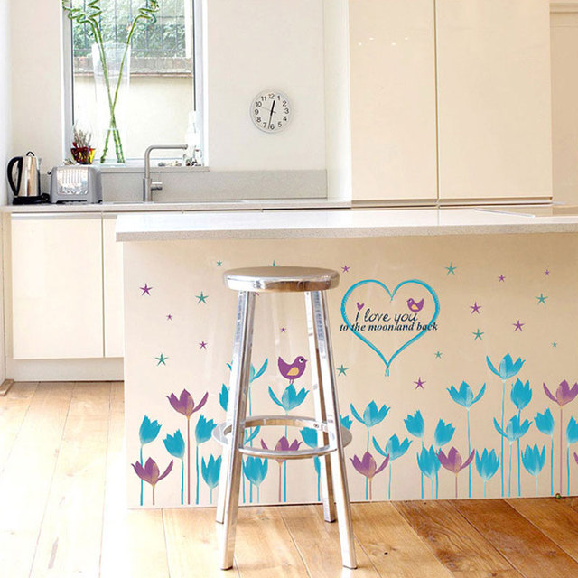 Biru Bunga Garis Skirting Stiker Dinding Dekorasi Rumah Ruang Tamu