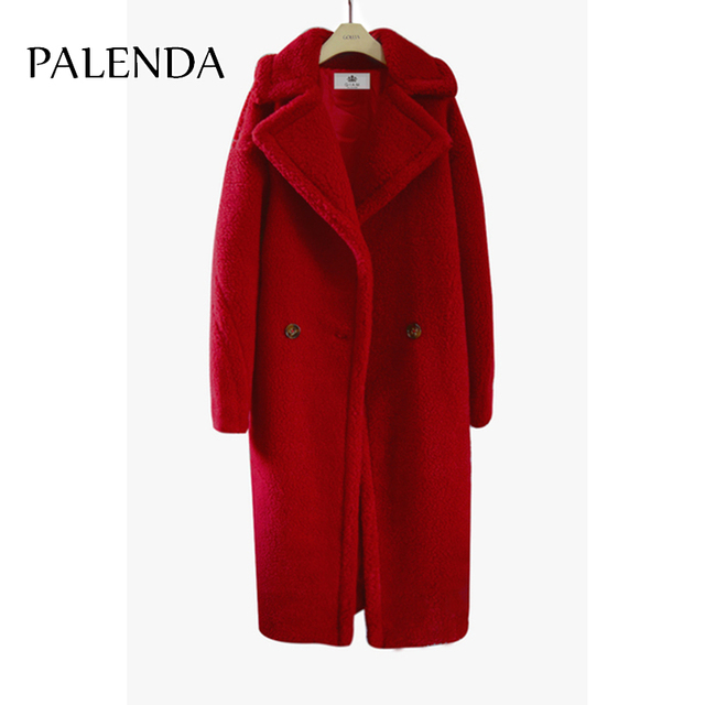 2018 new teddy coat faux fur long coat women lamb fur coat 4 color 3