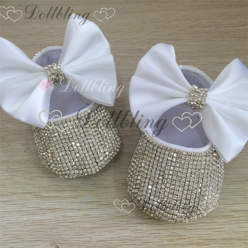b1decf30c1773 US $39.41 |Christening Bling White bow Sequins Handmade Chain crystal baby  shoes baptism ETSY supplier custom for buyer-in First Walkers from Mother &  ...
