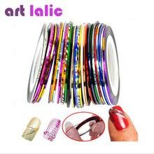 Чередование rolls разноцветные линия советы ленты nail art наклейки украшения ногтей