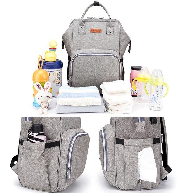 Sac à langer sac à dos Interface USB sac à couches grande capacité imperméable momie sac de maternité pour poussette produit de soin de bébé - 4
