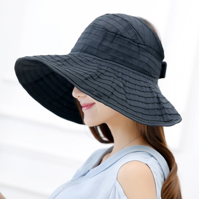 a0bbe763 Women Packable Crushable Roll Up Wide Brim Sun Visor Beach Hat Large Brim  Hat Summer Ladies Sun Vacation Empty Top Caps