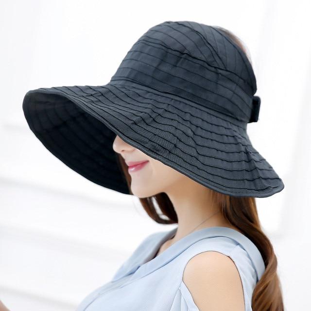 6da4fbf8 Women Packable Crushable Roll Up Wide Brim Sun Visor Beach Hat Large Brim  Hat Summer Ladies Sun Vacation Empty Top Caps