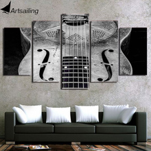HD Printed 5 Piece Canvas Art Classical Guitar Painting Music Instrument Wall Pictures for Living Room Free Shipping CU-2424C