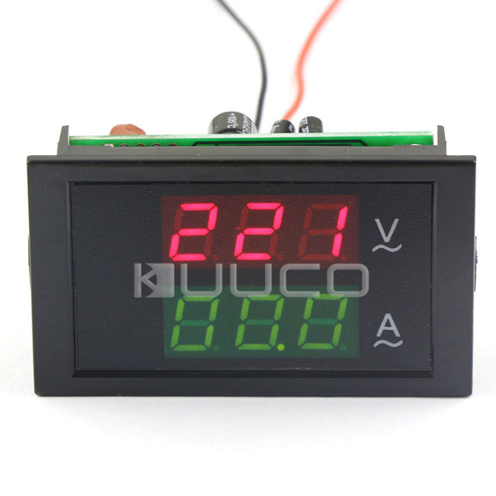 3 Phase 380 Voltage Current Measure Meter AC 200~450V/100A Red/Green Display Volt Amp Panel Meter 2in1 + Current Transformer