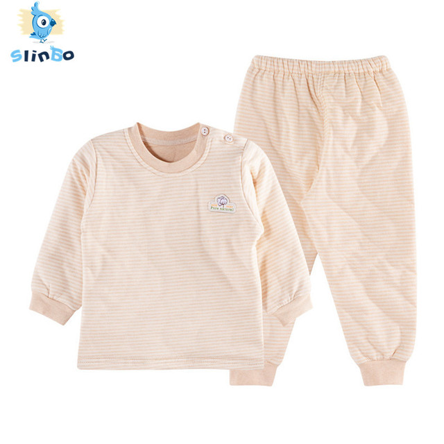 5b6526ecb SlinBo Brand Autumn Winter Quilted Clothes Set Thick Baby Thermal Underwear  Sets 100% Cotton Toddler