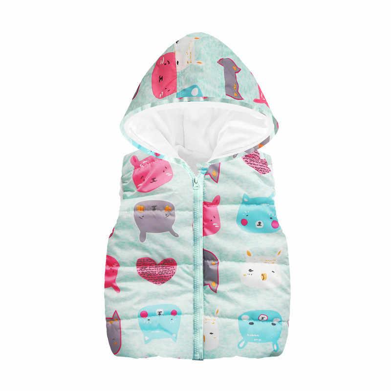 ¡Novedad de 2019! chaleco de lana sin mangas con capucha para bebé, chaqueta para niñas y niños con estampado de dibujos animados, abrigo cálido de Cachemira, chaleco, prendas de vestir, ropa