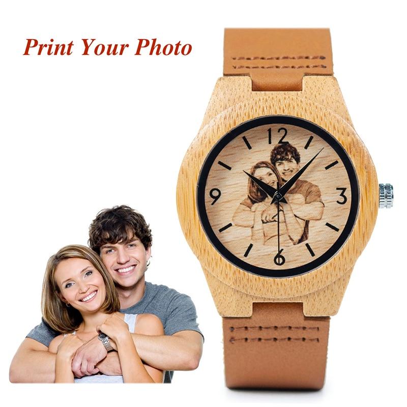 BOBO BIRD Creative Gift Wood Watch Men Women Photos UV Printing On Wooden Watch OEM Customized Gift