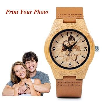 BOBO BIRD Creative Gift Wood Watch Men Women Photos UV Printing on Wooden Watch OEM Customized Gift Women Creative Watches