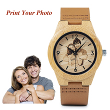 BOBO BIRD Creative Gift Wood Watch Men Women Photos UV Print