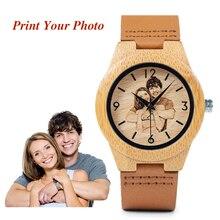 BOBO ptak kreatywny prezent drewniany zegarek mężczyźni kobiety zdjęcia druk UV na drewnianym zegarku OEM niestandardowy prezent