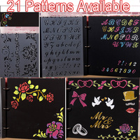 21 Patterns Scrapbooking Stencil Bullet Journal Drawing Template Letter Stencil Painting Template Alphabet Ruler Tool Craft