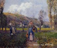 Peasant Woman and Child Harvesting the Fields, Pontoise by Camille Pissarro Paintings on canvas hand painted High quality