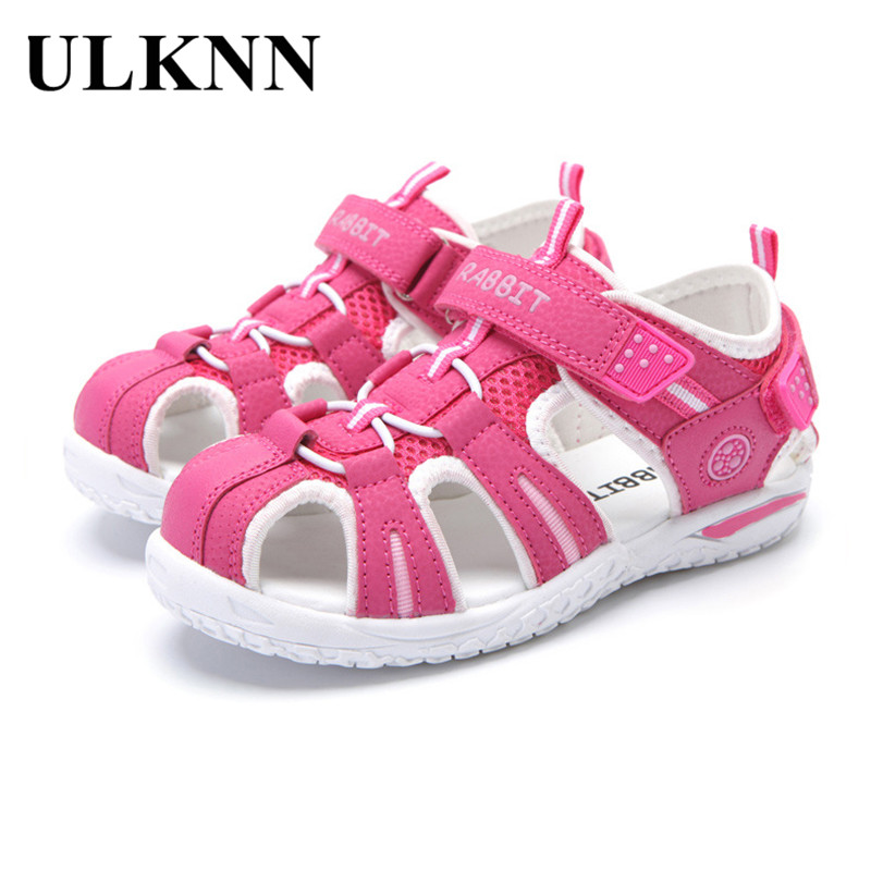 ULKNN Close Toe Girls Sandals For Beach Summer Boys Shoes Kids Sandals Casual Children Shoes Cut-outs Sport Sandals For Girls