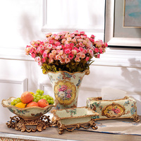 European Home Furnishing jewelry ornaments flowers rose flower vase Floral Table Set Simulation Room wedding gift