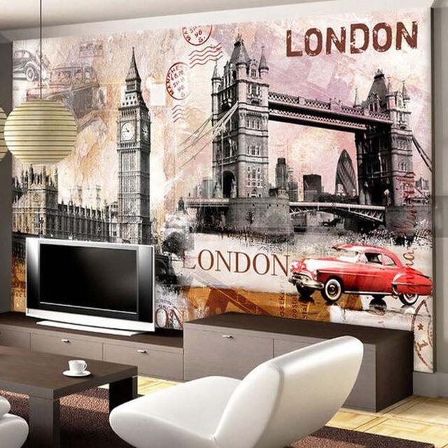 Europeenne Retro Papier Peint London Bridge Ville Paysage Papier