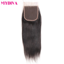 Mydiva Remy Human Hair Straight 4″x4″ Lace Closure Free Part Natural Color 8-18inch One Piece Swiss Lace