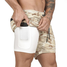 Mens 2 in 1 Running Shorts Sporting Quick Drying Training Exercise Jogging Gyms with Built-in Pocket Liner