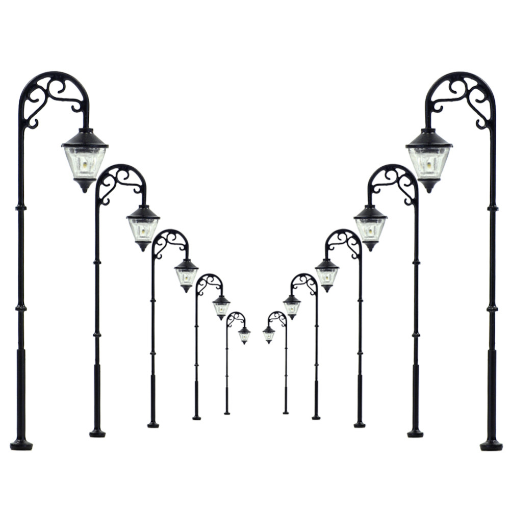 10 Pcs Ho Scale Street Lights For Hobby Train Landscapes 12 V 1 87 Lamp Post