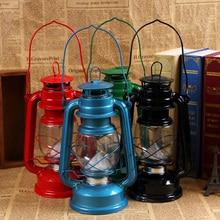 Lámpara de queroseno de cristal para dormitorio cocina comedor keroseno lámpara de noche negro rojo azul plateado Color vintage lámpara de aceite