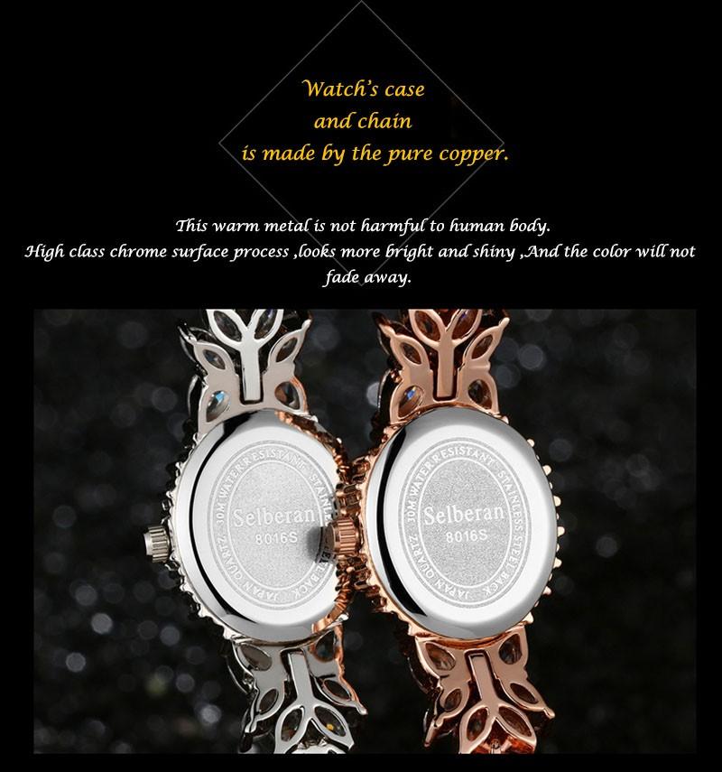 16 50M Waterproof Selberan Gold/Silver Natural Zircon Wrist Watch for Women Luxury Ladies Bracelet Watch Montre Femme Strass 9