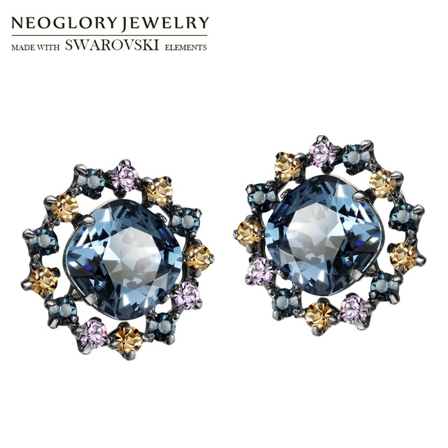 Neoglory Made With Swarovski Elements Crystal Stud Earrings Le Blue Vintage Round Baroque Design Lady Party Dress In From Jewelry