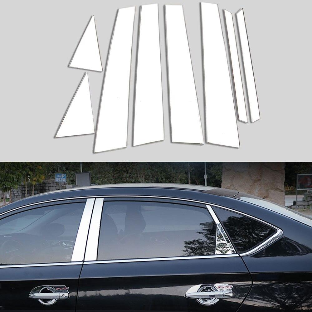 ステンレス鋼車センターピラーウィンドウトリムストリップ 8 ピース日産セントラシルフィ 2013 2017 車のエクステリアアクセサリースタイリング - Motorparts
