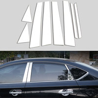 Stainless Steel Car Center Pillar Window Trim Strips 8pcs For Nissan Sentra Sylphy 2013 2017 Car Exterior Accessories Styling
