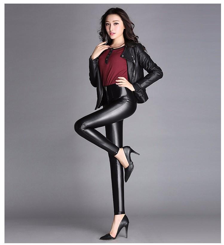 High Quality Black Pants Women Autumn Fashion Sexy Zipper Pu Leggings Pencil pants Pantalon Femme Leather Pants Plus Size 2016 c
