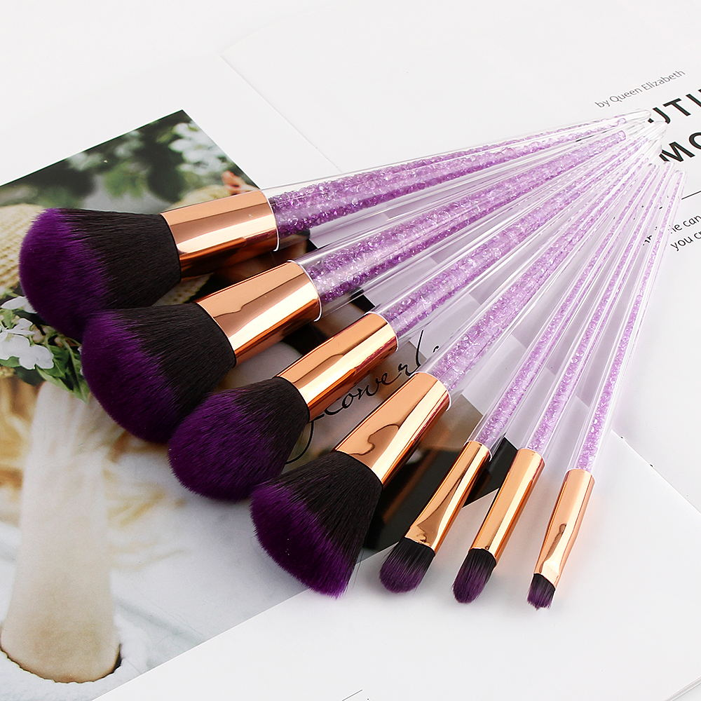 Top Selling Makeup Brush Set 7pcs Purple Crystal Cosmetic Blending Blush for Foundation Powder Eyeshadow Beauty Tools lades 7pcs makeup brushes set diamond rainbow handle cosmetic foundation blusher powder blending brush beauty tools kits mb030a