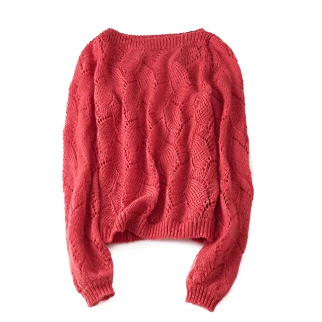 Women Sweater 2019 New Mohair Avril Jumper Boat neckline pullover Patterned knit 3 colors Top Sweater