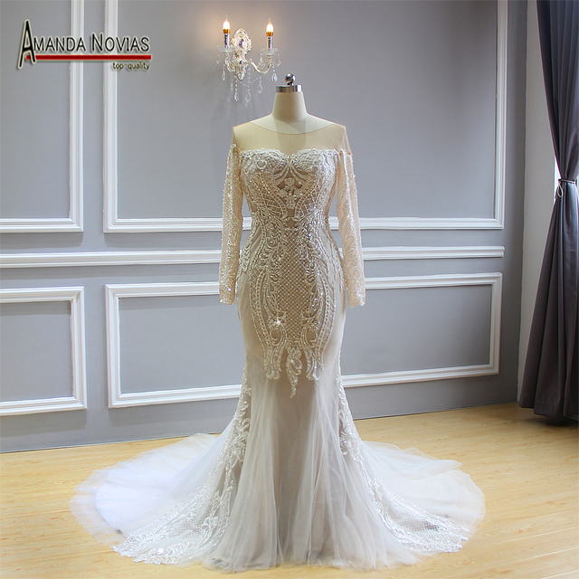 2018 New Design Amanda Novias Mermaid Wedding Dress Real Work Brand