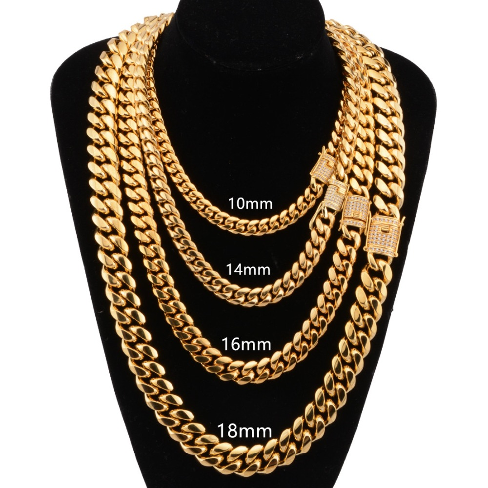 8/10/12/14/16/18mm Stainless Steel Gold Tone Curb Cuban Miami Chain Men White Crystal Buckle Necklace or Bracelet Jewelry 7