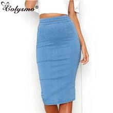 купить Colysmo Women Denim Skirts Plus Size High Waist Midi Skirt Summer Pencil Skirt Jeans Lady Long Bodycon Denim Skirt Saia Midi New по цене 1094.2 рублей