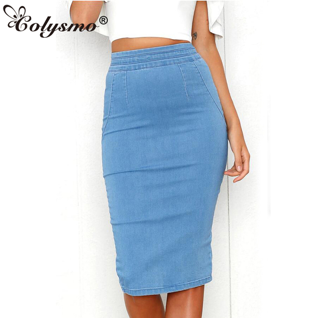 6f70d4b9fb4 Colysmo Women Denim Skirts Plus Size High Waist Midi Skirt Summer Pencil  Skirt Jeans Lady Long