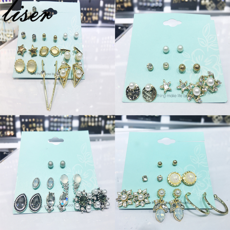 9 Pairs Contemplative New Fashion Womens Accessories Womens Party Earrings Colorful Mixed 6 Set Gift Set Earrings Pearl Stud Earring Buy Now